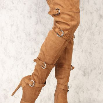 Sexy Camel Strappy Thigh High Boots Pointy Toe Faux Suede