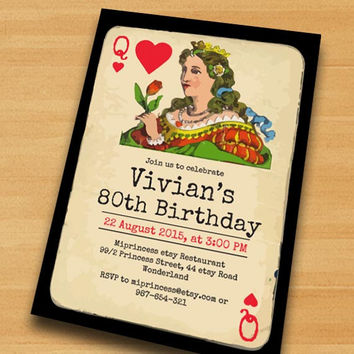 Poker Playing Card birthday invitation, Vintage poker queen design invitation for any age 30th 40th 50th 60th 70th 80th card 434