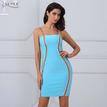 Adyce Women Fashion Bandage Dress New Arrival Elegant Sky Blue Chain Embellished Bodycon Celebrity Party Dresses Clubwear