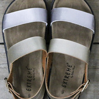 Minimalist Chic Gold & Silver Strap With Black And White Bottom Cork Sandals