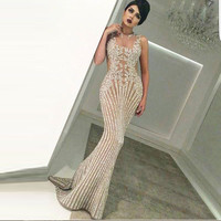 Sparkling Champagne Beading Mermaid Evening Dresses Saudi Arabia Prom Gowns See Through Sexy Long Party Dresses Robe De Soiree