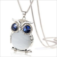 Owl Collection Silver and Swarovski Crystal Featuring BLUE Eyes White Belly