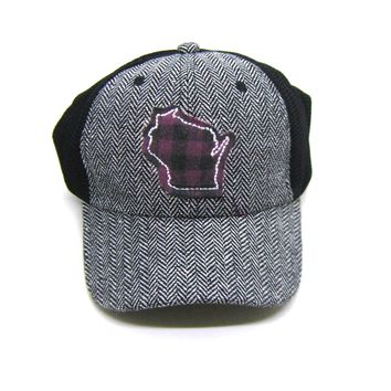 Wisconsin Trucker  Herringbone Trucker Hat - Plum Buffalo Check