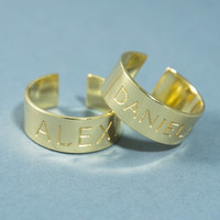 Open Ring - Engraved ring, Cuff ring, Custom gold ring, Engraved gold ring,  Personalized ring, Name ring, Personalized jewelry, Ring cuff