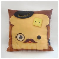 """Monocle Toast with Black Beret Brown Mustache Butter - Decorative Pillow - Cotton Pillow - Throw Pillow - Accent Pillow - Cushion - 16 x 16"""""""