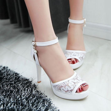 Open Toe Ankle Straps Mesh Platform Sandals High Heels 1857