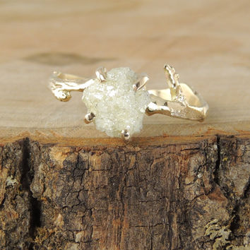 Rough Diamond Branch Engagement Ring, Handmade Diamond Engagment Ring