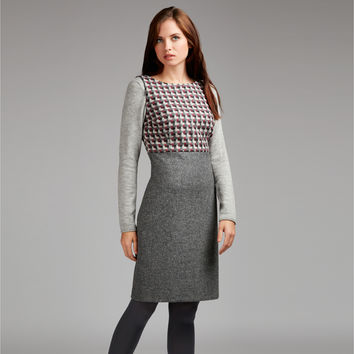 Moon British Wool Tweed Panel Shift Dress