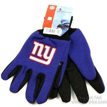 New York Giants NY Two Tone Pair GRIP Gloves Sport Work Utility Football