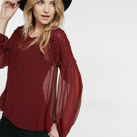 Smocked Shoulder Sheer Blouse