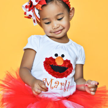Red Monster Shirt or bodysuit for Little girls -- Fuzzy monster Shirt -- Perfect for Birthday Parties and Shows