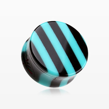A Pair of Brilliant Stripes Double Flared Ear Gauge Plug