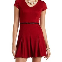 Textured Belted Skater Dress by Charlotte Russe