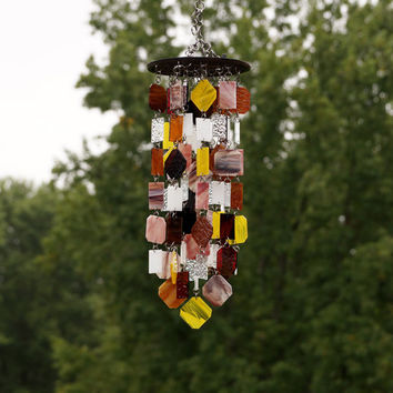 Stained Glass - Colored Glass - Wind Chimes - Sun Catcher - OOAK - Ode To Autumn
