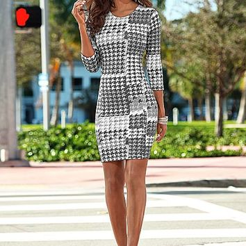 Houndstooth sheath dress, peep toe heel