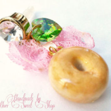 Cute Glazed Donut Phone Charm / Dust Plug, Kawaii Polymer Clay Doughnut Charm, Sweets Accessories, Sweet Lolita, Fairy Kei