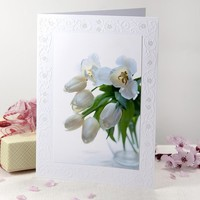 White dreamy tulips blank note card withm embossed edges
