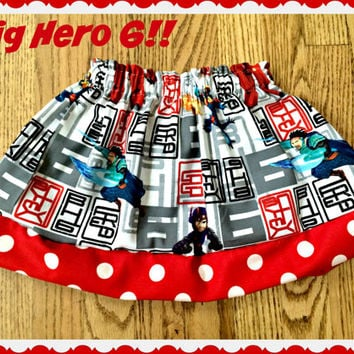 Big Hero skirt Six 6 girls skirt 2t 3t 4t 4/5 6/6x 7/8 10/12 Ready to Ship