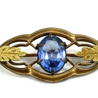 "Art Nouveau Blue Topaz Brooch, Antique Rolled Gold, Blue Topaz Oval Crystal, Sturdevant & Whiting, Early 1900's, Signed ""S W"""