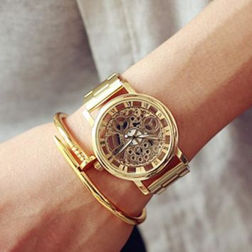 2017 New Famous Brand Luxury Fashion Casual Stainless Steel Men Skeleton Watch Women Dress Wristwatch Quartz Hollow Watches