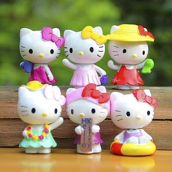 Cute Hello Kitty Figures Toys Lovely Summer Style Hello Kitty PVC Action Figures Toys Figurines Kids Toys for Girl Gift 6pcs/set