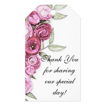Pink Roses Wedding Gift Tags