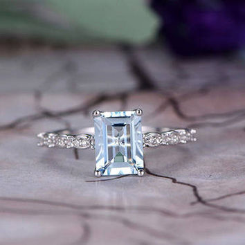 6x8mm Emerald Cut Aquamarine Engagement Ring,14k White Gold,Anniversary ring,Promise ring,Marquise shape,Prong,Half Eternity,Gift for her
