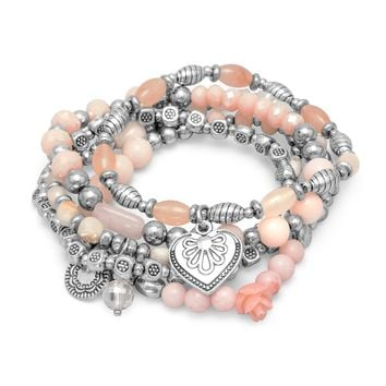 Set of 5 Silver Tone Multicharm Fashion Stretch Bracelets with Pink Beads