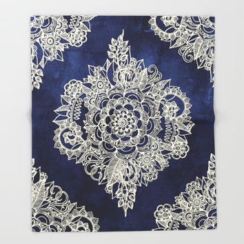 Cream Floral Moroccan Pattern on Deep Indigo Ink Throw Blanket by Micklyn | Society6