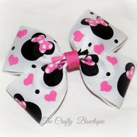 Minnie Mouse Hearts ~ Boutique Hair Bow ~ Black, Pink and White ~ Valentine Hair Bow ~ Big Hair Bow ~ Girls Hair Bow ~ Bow for Headbands