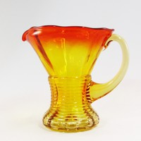 Hand Blown Amber Creamer Amberina Yellow Orange Glass Ribbed Mini Pitcher