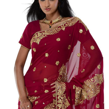 Red Party-wear Sari