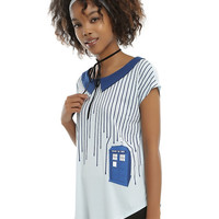Doctor Who Dripping Stripes TARDIS Girls Top