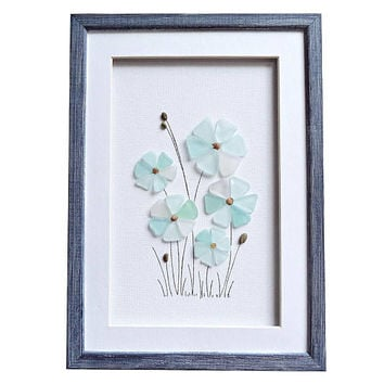Sea glass art home decor, Genuine sea glass housewarming gift, Blue flowers wall art, Sea glass new home gift, Bathroom wall decor, 3D art