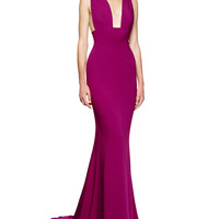 Stella McCartney Wide-Strap Deep-Plunge Godet Gown, Hyacinth