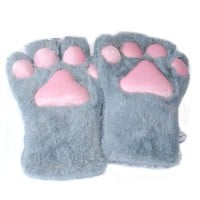 1 Pair Fluffy Bear Cat Kitten Paw Claw Full Gloves Plush Anime Novelty Cosplay Halloween Party Costume Mittens 5 Colors