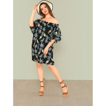 Plus Pineapple Print Ruffle Trim Bardot Dress