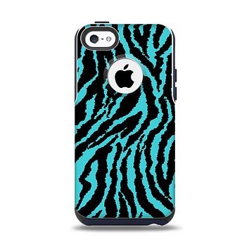 The Vector Teal Zebra Print Apple iPhone 5c Otterbox Commuter Case Skin Set
