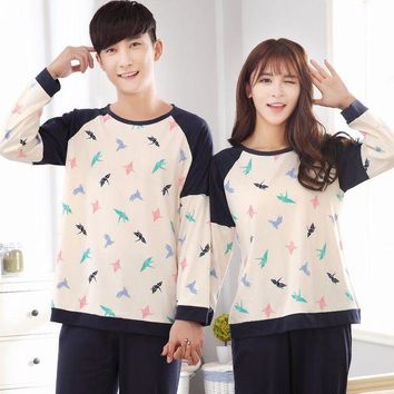 VONG2W 2017 New Couple Pajama Sets Cotton Material Long Sleeve Nightwear for Women Cartoon Printing - 5077