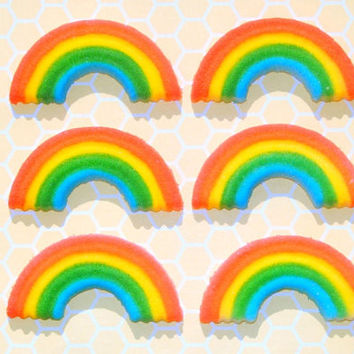 24 Retro Inspired Edible Rainbow Sugar Decorations - Swell for Decorating Cookies, Cakes and Cupcakes