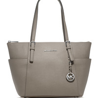 Jet Set Top-Zip Saffiano Tote Bag, Pearl Gray - MICHAEL Michael Kors