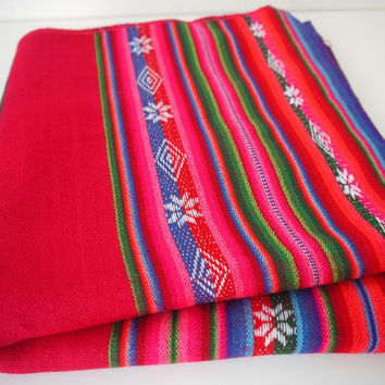South American Fabric, Peruvian Fabric, Woven Textile, Dark Pink