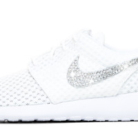 Nike Roshe One - Crystallized Swarovski Swoosh - White