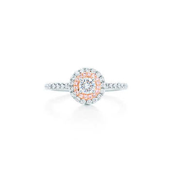 Tiffany & Co. - Tiffany Soleste® ring in platinum and 18k rose gold with Fancy Pink diamonds.