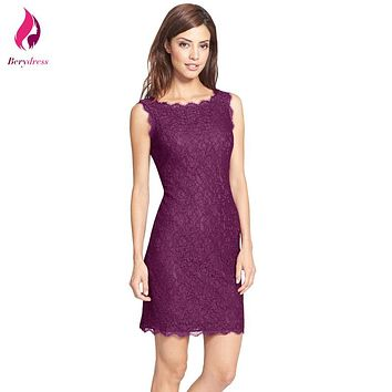 Berydress Women's Purple Lace Dress Wedding Party Vintage Bodycon Pencil Vestido De Festa Sexy Summer Dresses Female 2017 Robe