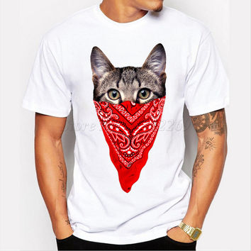 2017 New Arrival 3d Gangster Cat Design Men's Customized T-shirt Cute Animal Printed Male Casual Tops Popular Boy Funny Tee