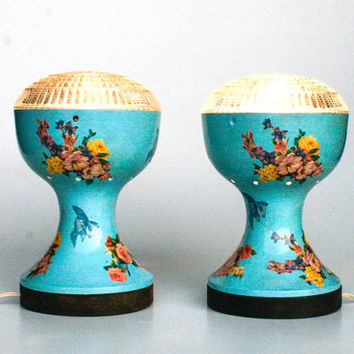 Blue Flower Decoupaged Table Lamp Pair / Couple Desk Lamps / 50's Bedside Lamp / Blue Vintage