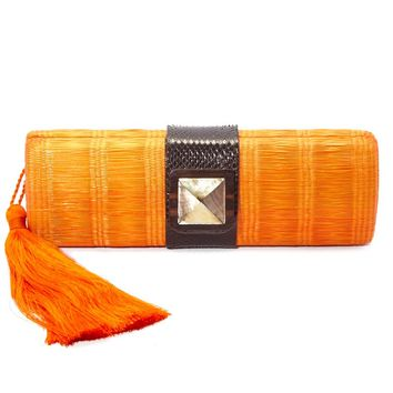 Simone Orange Woven Clutch