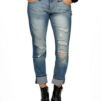 Light Indigo Deconstructed Cuffed Jeans