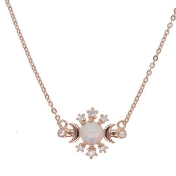 Moon Star Opal Rose Gold Necklace
